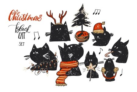 Hand drawn vector abstract Christmas illustrations collection set with funny doodle black cat characters in red Christmas clothes and Christmas tree in pot isolated on white.Happy New Year concept.
