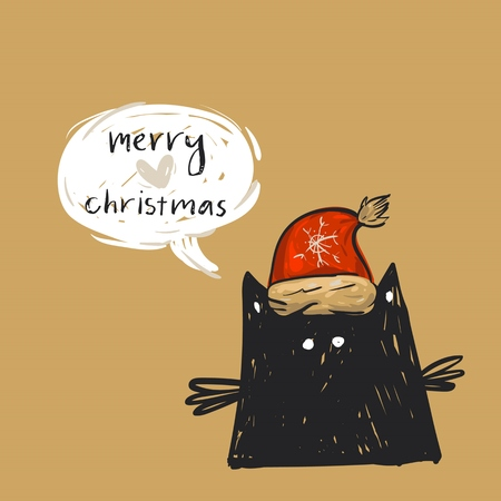 Hand drawn vector abstract Merry Christmas greeting card template with cute black cat in red Santa Claus hat haracter with speech bubble and modern calligraphy phase Merry Christmas.Happy New Year. 向量圖像