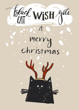 手描きの背景抽象かわいい黒猫とメリー クリスマス グリーティング カード テンプレート文字鹿の角と近代書道相黒猫願いメリー クリスマス。