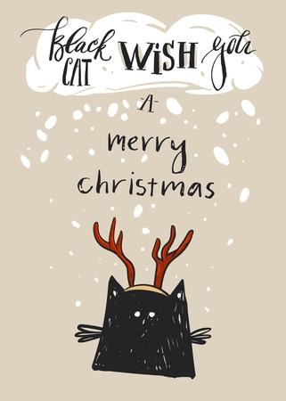 Hand drawn vector abstract Merry Christmas greeting card template with cute black cat character in deer antler and modern calligraphy phase Black cat wish you a Merry Christmas.