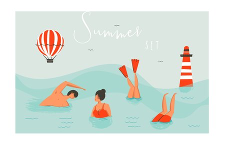 Hand drawn vector abstract cartoon summer time fun swimming people group collection set isolated on blue ocean waves Illustration