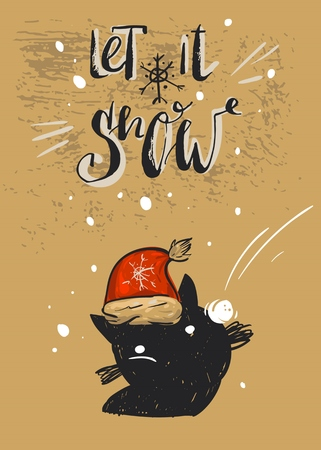 Hand drawn vector abstract Merry Christmas greeting card template with funny black cat character in red Santa Claus hat,who plays in snowballs outdoor and modern calligraphy phase Let it snow. Ilustracja