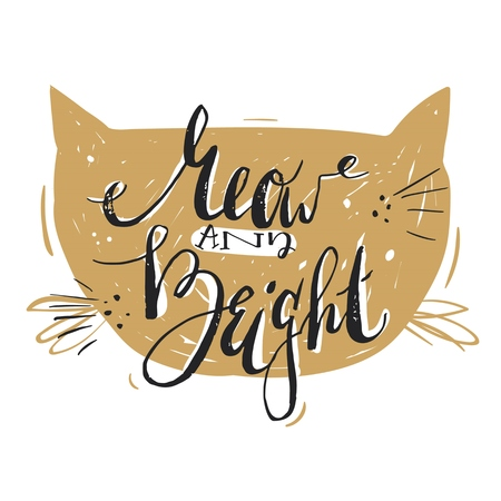 Hand drawn vector abstract Merry Christmas greeting card template with cute modern calligraphy phase Meow and bright.Christmas poster,sign,label,banner,tag,postcard,decoration design
