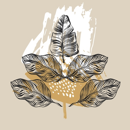 Hand drawn vector abstract graphic tropical xmas mirror print with palm leaves.