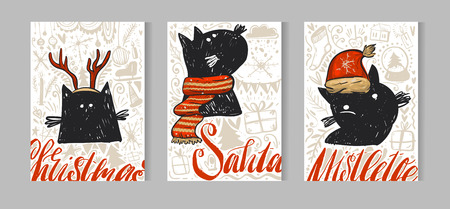 Hand drawn vecor abstract Merry Christmas greeting card set with cute xmas black cats characters in winter clothing,Christmas ornaments and modern calligraphy phases isolated on white background.