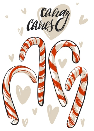 Hand drawn vector abstract Christmas greeting card template with xmas candy canes and handwritten modern calligraphy isolated on white background.Happy New Year and Merry Christmas concept.