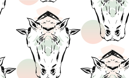 Hand drawn vector lined abstract ink graphic horses mirror heads seamless pattern isolated on white background.Minimalistic style.Unusual pattern.Wrapping papper,Fashion print.Trendy Decoration