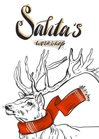 現代書道相サンタワーク ショップと赤いスカーフでかわいいトナカイ ベクトル休日背景。メリー クリスマスと幸せな新年のグリーティング カード