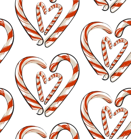 Hand drawn vector abstract Christmas seamless pattern with candy canes in heart shape isolated on white background.Christmas menu design.Happy New Year and Merry Christmas concept.Wrapping papper.