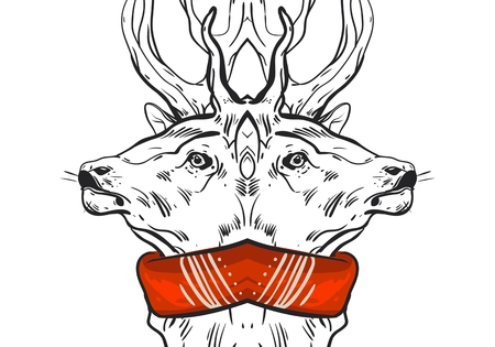 Hand drawn vector graphic mirror Christmas deer compozition isolated on white background.Design for greeting card,decoration,save the date,journaling,banner,poster,print