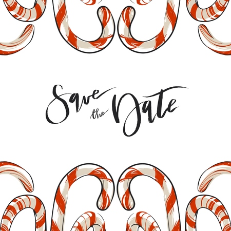 Hand drawn vector abstract Christmas greeting save the date card template with candy canes isolated on white background.Christmas menu design.Happy New Year and Merry Christmas concept. Illustration