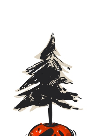Hand drawn vector abstract Christmas card template with Christmas tree in pot isolated on white background.Merry Christmas and Happy New Year concept for greeting card,save the date,journaling Illustration