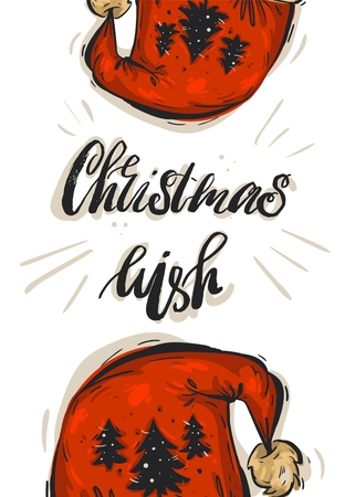 Hand drawn vector abstract Christmas greeting card template with modern rough ink calligraphy phase Christmas wish and Santa claus red hats isolated on white background