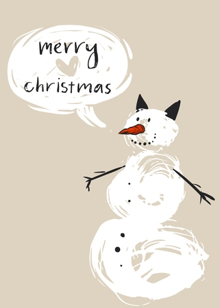 Hand drawn vector abstract Merry Christmas greeting card template with cute white snowman character and modern calligraphy phase Merry Christmas.Happy New Year and Merry Christmas concept.