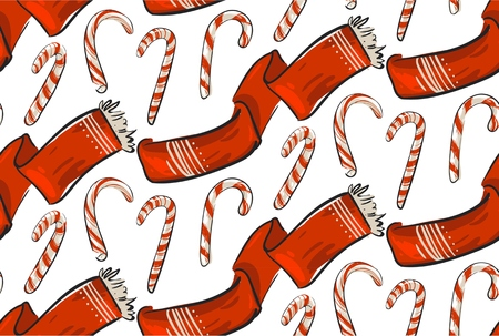 Hand drawn vector Christmas seamless pattern with winter clothing red scarf and sweer candy canes isolated on white backgroung.Merry Christmas and Happy New Year concept pattern.Wrapping paper