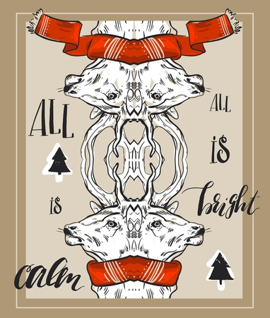 phase: Hand drawn vector abstract Christmas greeting card template with mirror graphic deers composition in red scarf,Christmas trees and modern calligraphy phase All is calm,all is bright. Illustration