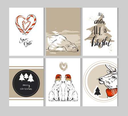 Hand drawn vector abstract Merry Christmas greeting cards template collection set with deer,polar bear,Christmas trees,cande canes and modern calligraphy phase.Simple Christmas journaling cards,pages Illustration