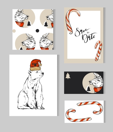 Hand drawn vector abstract Merry Christmas greeting cards template collection set with deer,polar bear,Christmas trees,cande canes and modern calligraphy phase.Simple Christmas journaling cards,page