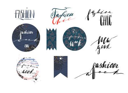Hand getrokken vector sjabloon collectie met handgeschreven letters fasen New York fashionweek en mode Chic. Banners, posters, stickers, teken en ontwerpelementen voor mode blog of show Stock Illustratie