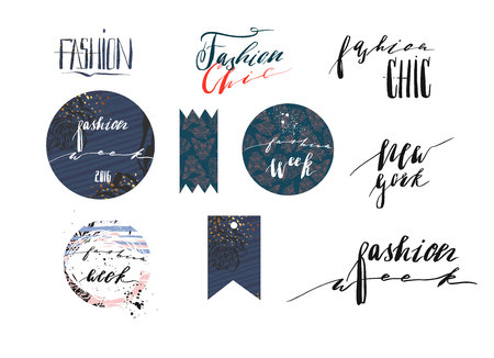 Hand drawn vector template collection with handwritten lettering phases New York fashion week and fashion Chic.Banners,posters,stickers,sign and design elements for fashion blog or show Illustration