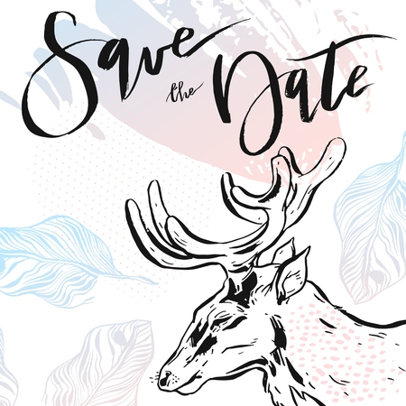 Hand drawn vector abstract modern hipster minimalistic rustic save the date card template with deers composition in pastel colors.Design for poster,card,invitation,brochure,flayer Illustration