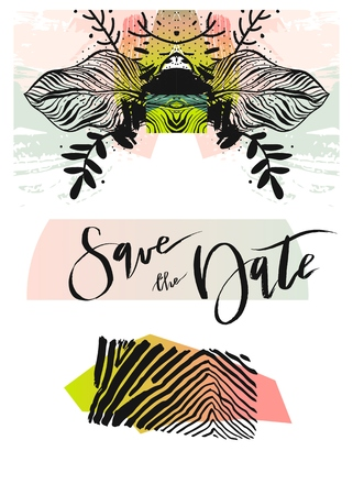 Wedding Invitation Card. Tropical Flowers Background. Banana Flowers. Save the Date. Vector Tropical. Invitation Template. Wedding Theme. RSVP. Illustration