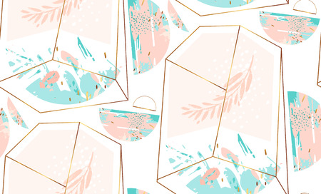 Hand drawn vector abstract artistic geometric seamless pattern Illustration