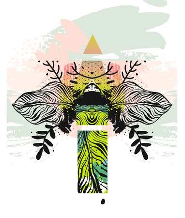 Hand drawn vector abstract modern boho tropical minimalistic unusual exotic palm leaf reflect composition.Tribal Design for poster,card,invitation,placard,brochure,flayer. Illustration