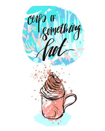 手作りベクトル抽象的なテクスチャのインク現代書道相何かホットのカップとクリエイティブ カード テンプレートとパステル カラーのコーヒーの