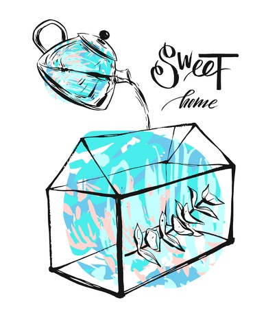 Hand drawn vector abstract illustration with terrarium,eucaliptus brunch and pot with water in blue colors isolated on white background.Sweet home concept.Nordic decoration Illustration