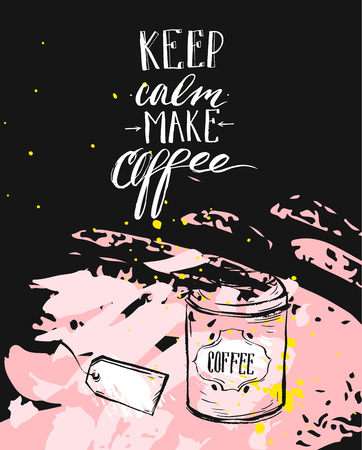 Hand gemaakt vector moderne inkt handgeschreven kalligrafiefase houden kalm maken koffie met pijlen geïsoleerd op zwarte achtergrond. Ontwerp voor print, koffie winkel, business, decoratie, poster, print, merk, logo.