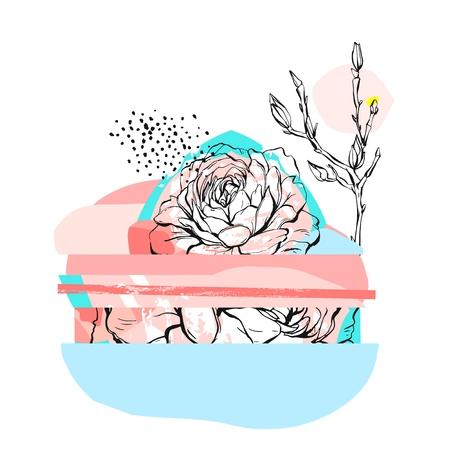 Illustrazione insolita creativa dell'estratto disegnato a mano di vettore con il fiore grafico della peonia nei colori pastelli Strutture disegnate a mano del disegno Matrimonio, anniversario, compleanno, inviti del partito, saluto, segno, logo Archivio Fotografico - 81521912