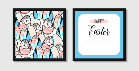 Colorful Happy Easter greeting card with rabbit, bunny and text Illustration