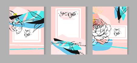 예술적 크리 에이 티브 유니버설 카드의 집합입니다. 손으로 그린 텍스처. 결혼식, 기념일, 생일, 발렌타인 데이, 파티. 포스터, 카드, 초대장, 현수막,