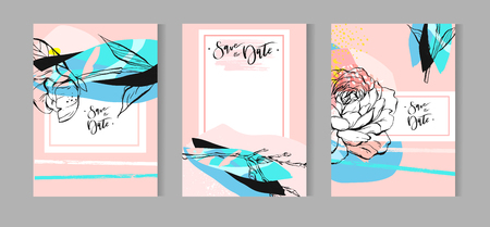 Set van artistieke creatieve universele kaarten. Hand getrokken texturen. Bruiloft, jubileum, verjaardag, Valentijnsdag, feest. Ontwerp voor poster, kaart, uitnodiging, aanplakbiljet, brochure, flyer. Vector. Geïsoleerd. Stock Illustratie