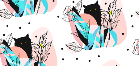 Hand drawn vector abstract artistic creative artworks illustrations seamless pattern with black cute monsters in night fairy wild forest in bright blue and pastel colors isolated on white background Stock Photo