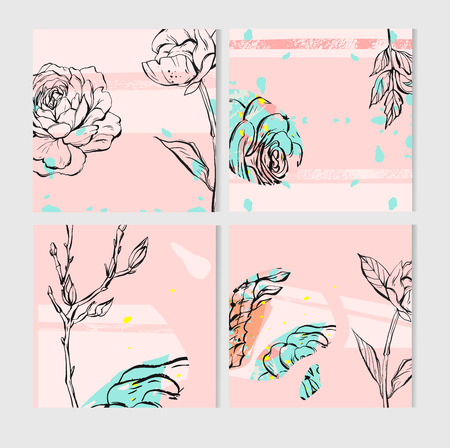 Geometric cactus and succulents on pink background. Vector set with succulents flowers, concrete pots and glass terrariums. Vector illustration. Seamless pattern. Stock Photo