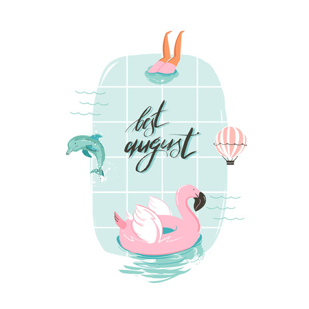 Ilustración de diversión de verano de dibujos animados con flamenco rosado Foto de archivo - 82425608