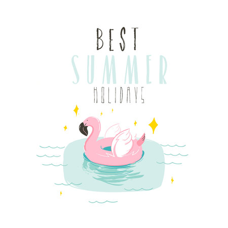 Hand drawn vector abstract summer time fun illustration with pink flamingo buoy ring in pastel colors and modern typography quote Best Summer Holidays isolated on white background