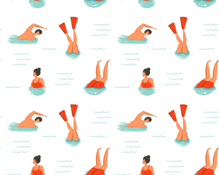 Hand drawn vector abstract cartoon summer time fun illustration seamless pattern with swimming people isolated on white background