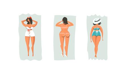Hand getrokken vector retro de illustratiesinzameling van de beeldverhaalzomer tijdpret die met luie liggende het zonnebaden meisjes op strand wordt geplaatst dat op witte achtergrond wordt geïsoleerd