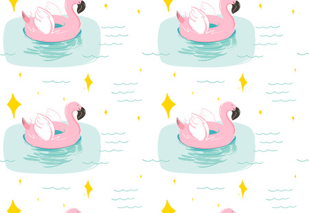Hand drawn vector abstract summer time fun seamless pattern with pink flamingo float swimming pool buoy circle and sparkles isolated on blue water background.