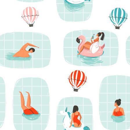 手描きの背景の抽象的な漫画夏熱気球は、白い背景で隔離のスイミング プールでスイミング人図シームレス パターンの楽しい  イラスト・ベクター素材