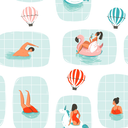 Hand drawn vector abstract cartoon summer time fun illustration seamless pattern with swimming people in swimming pool with hot air balloons isolated on white background Ilustração