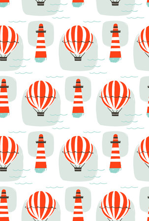 Hand drawn vector cartoon seamless pattern with lighthouse,hot air balloon and sea waves isolated on white background.
