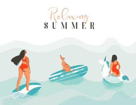 Hand drawn vector abstract fun summer time illustration card with surfer girls,swimming unicorn circle,cute dog on surfboard and modern typography quote Relaxing Summer isolated on blue background Çizim