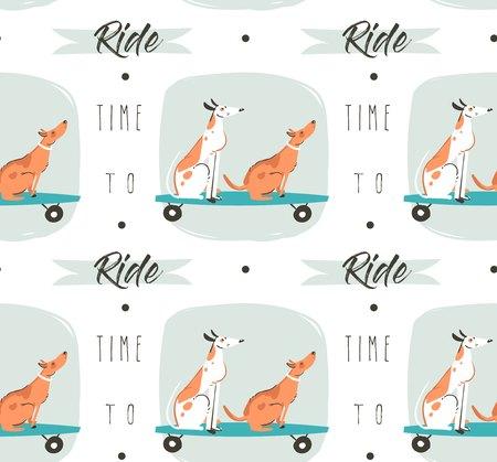 白い背景に夏の時間楽しいスケート ボードとロングボードとモダン ・ タイポグラフィの引用に乗る時間に乗って犬とのシームレスなパターン図の分離を描画描画ベクトル漫画を手します。 写真素材 - 82724581
