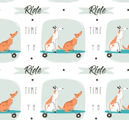 Hand drawn vector cartoon drawing summer time fun seamless pattern illustration with riding dogs on skateboards and long boards and modern typography quote Time to ride isolated on white background