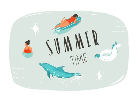 Hand drawn vector abstract summer time fun cartoon illustration with swimming people,surfer on longboard,unicorn float ring,dolphin and modern typography quote Summer time isolated on blue background.