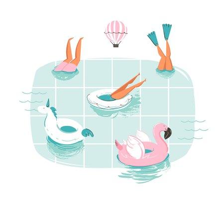 Hand getrokken vector abstracte cartoon zomer tijd fun cartoon illustratie met mensen zwemmen in het zwembad met hete lucht ballonnen geïsoleerd op een witte achtergrond